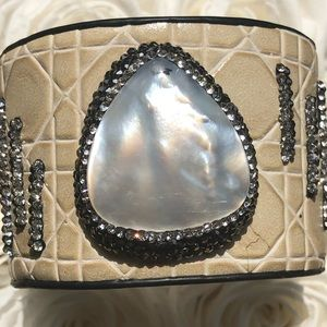 Jewelry - Faux snake skin cuff with beautiful stones.